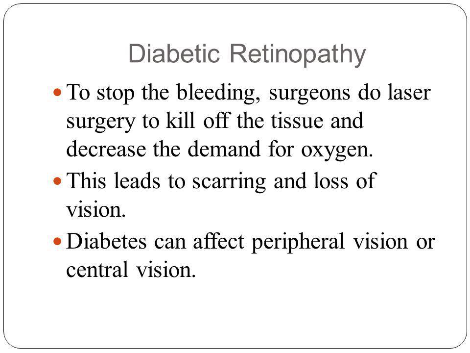 Diabetic Retinopathy To stop the bleeding, surgeons do laser surgery to kill off the tissue and decrease the demand for oxygen.