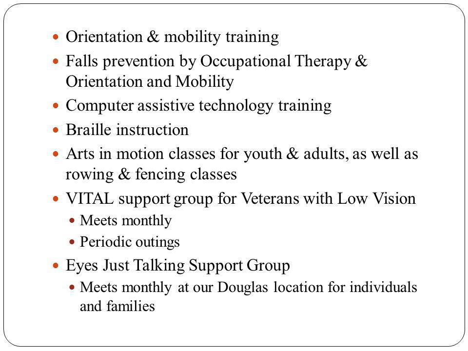 Orientation & mobility training Falls prevention by Occupational Therapy & Orientation and Mobility Computer assistive technology training Braille instruction Arts in motion classes for youth & adults, as well as rowing & fencing classes VITAL support group for Veterans with Low Vision Meets monthly Periodic outings Eyes Just Talking Support Group Meets monthly at our Douglas location for individuals and families