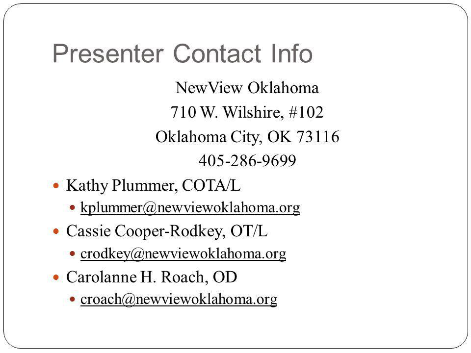 Presenter Contact Info NewView Oklahoma 710 W.