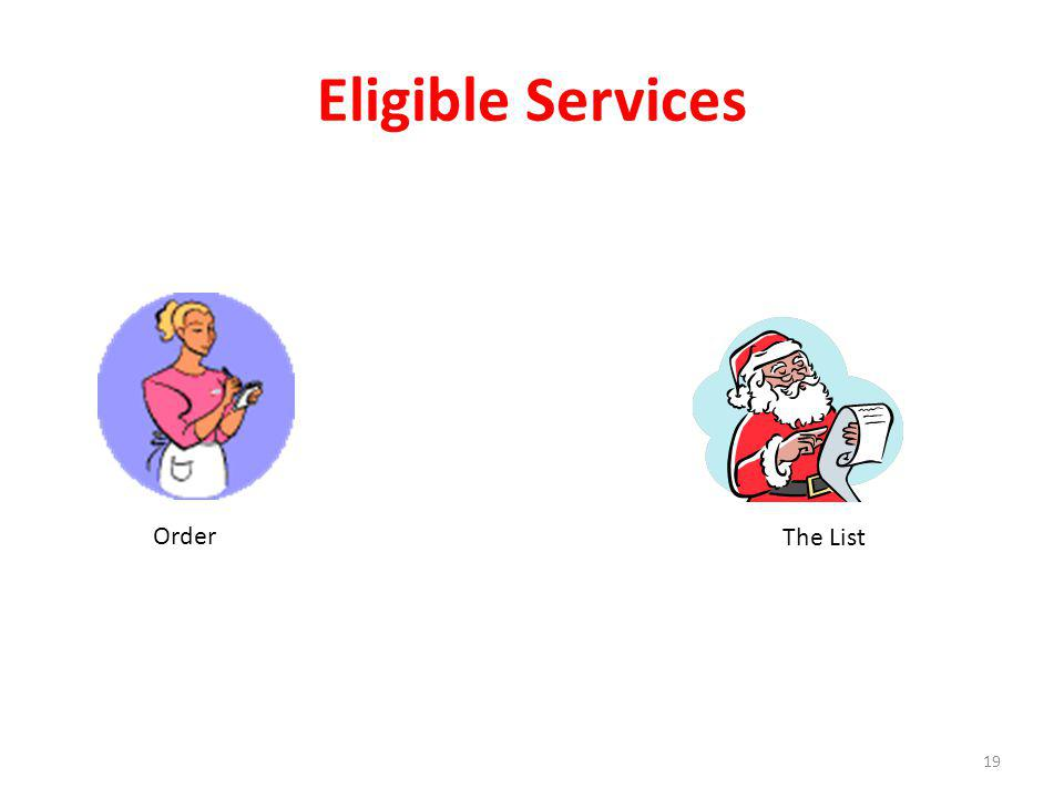 Eligible Services 19 Order The List