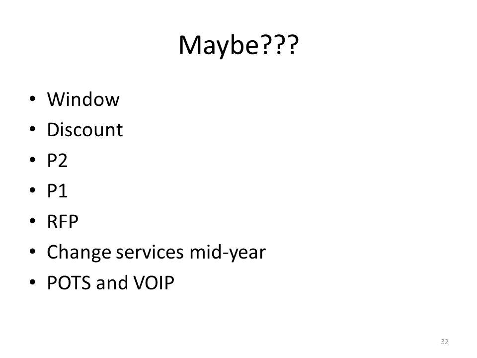 Maybe Window Discount P2 P1 RFP Change services mid-year POTS and VOIP 32