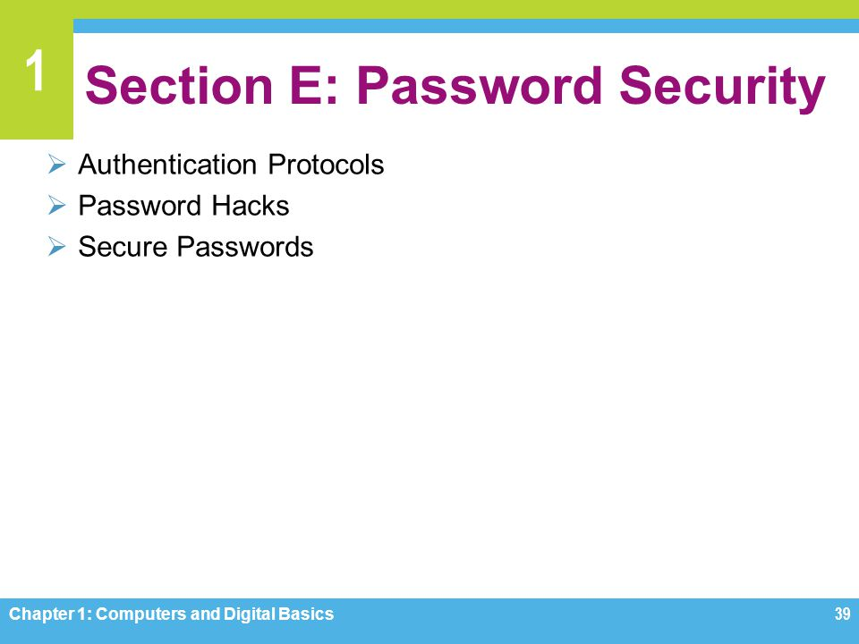 1 Section E: Password Security Authentication Protocols Password Hacks Secure Passwords Chapter 1: Computers and Digital Basics39