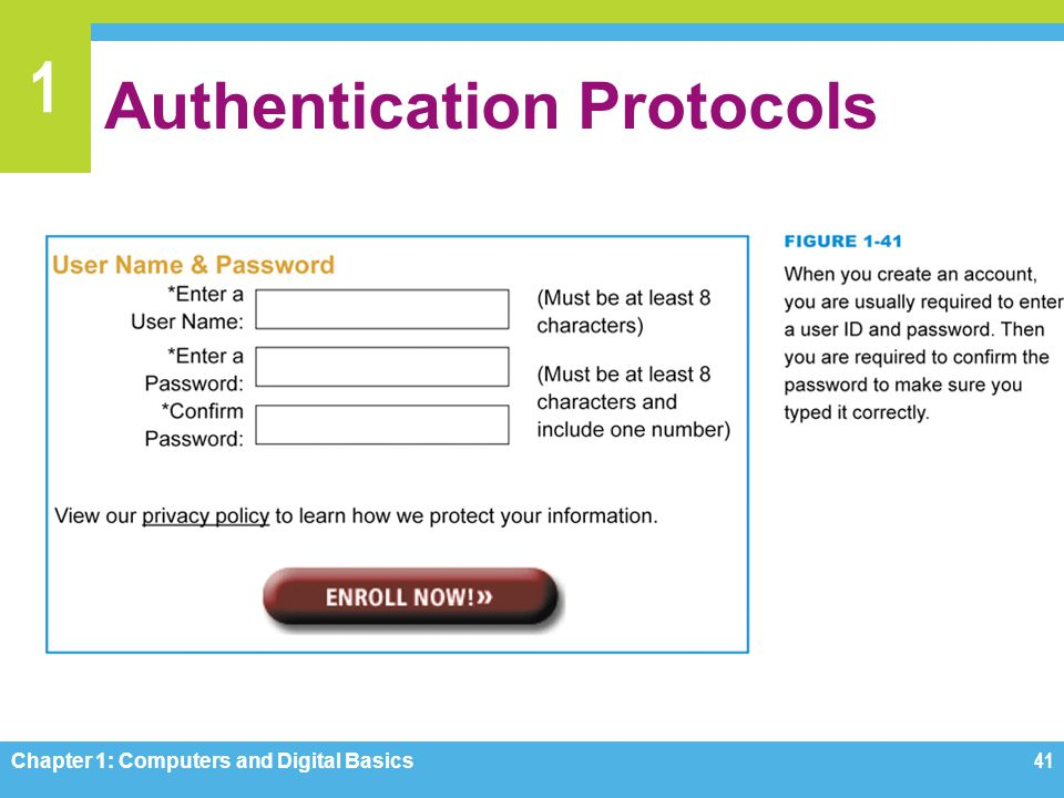 1 Authentication Protocols Chapter 1: Computers and Digital Basics41