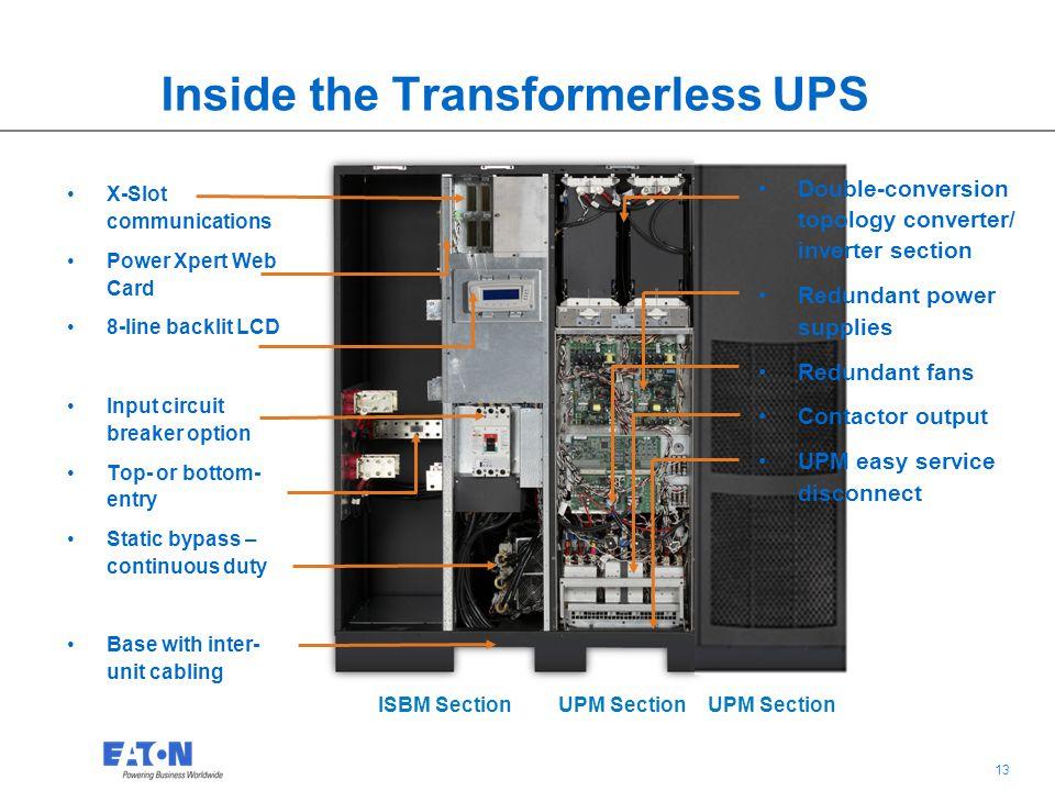 13 ISBM SectionUPM Section Inside the Transformerless UPS X-Slot communications Power Xpert Web Card 8-line backlit LCD Input circuit breaker option T