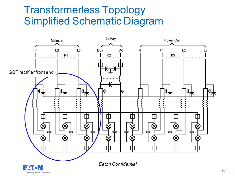 15 Eaton Confidential Transformerless Topology Simplified Schematic Diagram IGBT rectifier front end