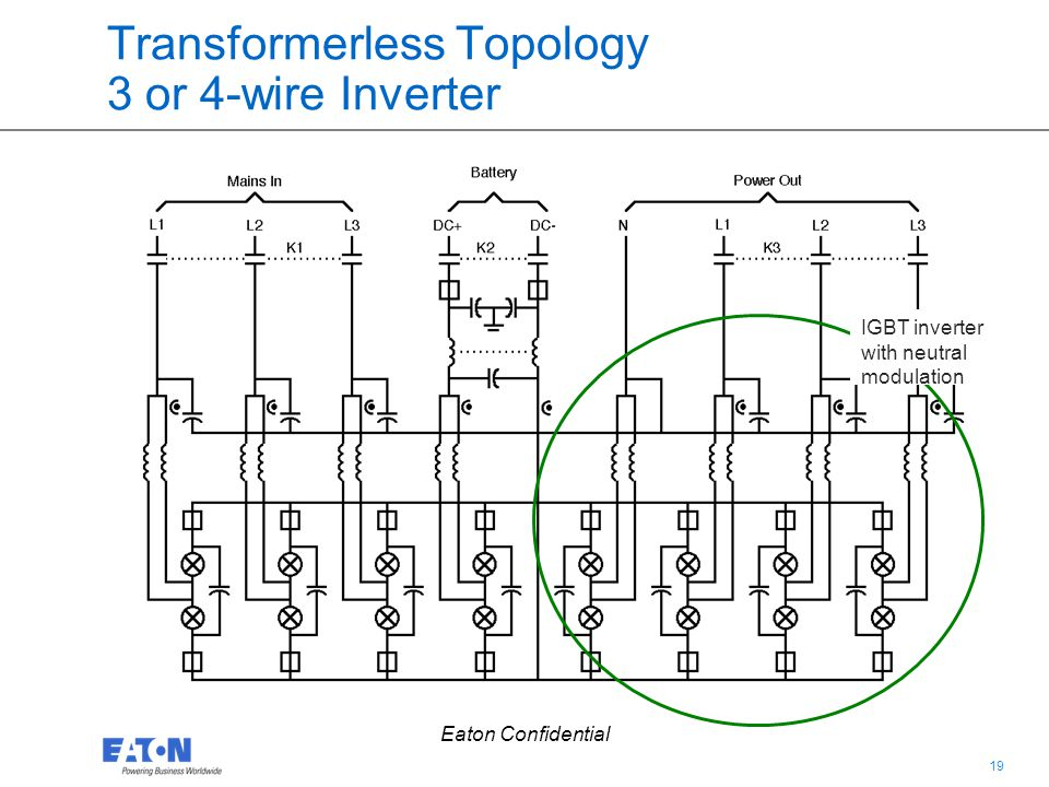 19 Eaton Confidential Transformerless Topology 3 or 4-wire Inverter IGBT inverter with neutral modulation