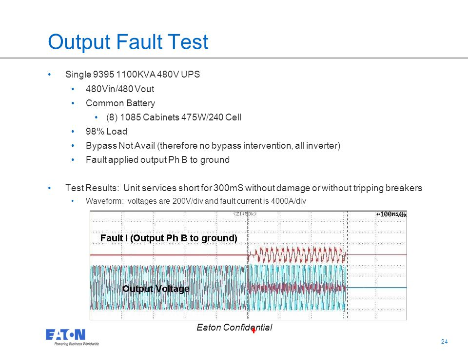 24 Eaton Confidential Output Fault Test Single 9395 1100KVA 480V UPS 480Vin/480 Vout Common Battery (8) 1085 Cabinets 475W/240 Cell 98% Load Bypass No