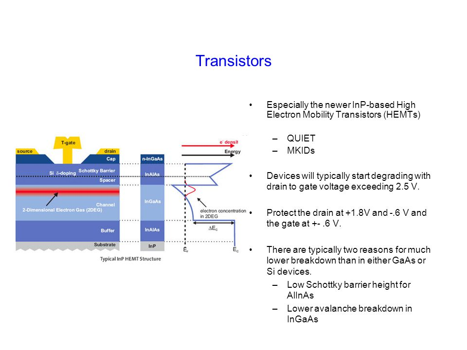Transistors Especially the newer InP-based High Electron Mobility Transistors (HEMTs) –QUIET –MKIDs Devices will typically start degrading with drain