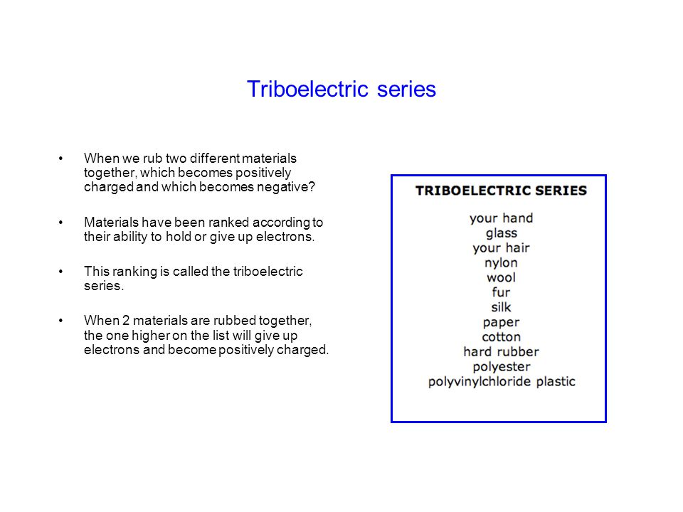 Triboelectric series When we rub two different materials together, which becomes positively charged and which becomes negative? Materials have been ra