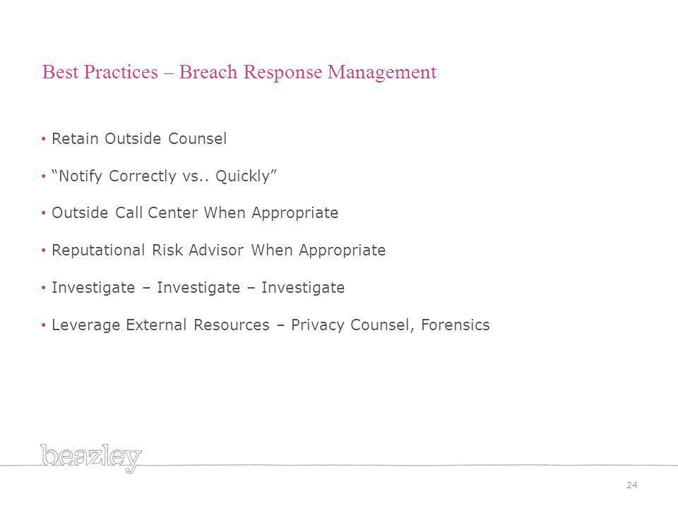 24 Best Practices – Breach Response Management Retain Outside Counsel Notify Correctly vs..