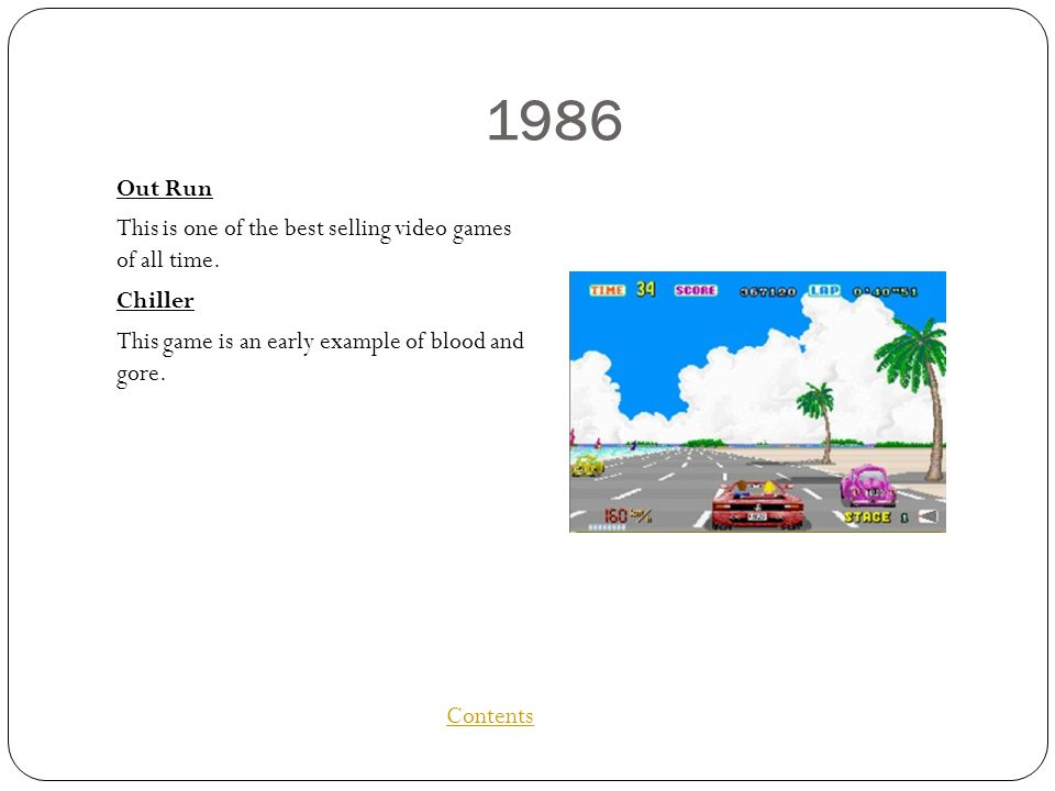 1986 Out Run This is one of the best selling video games of all time.