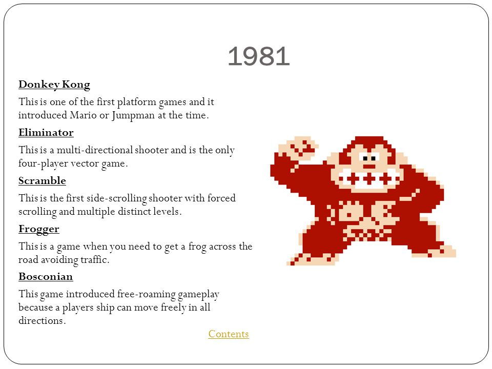1981 Donkey Kong This is one of the first platform games and it introduced Mario or Jumpman at the time.