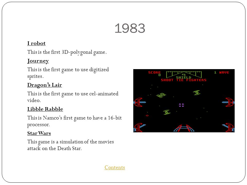 1983 I robot This is the first 3D-polygonal game.