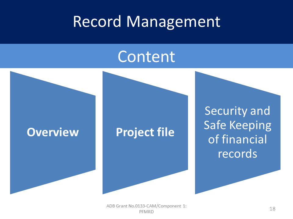 ADB Grant No.0133-CAM/Component 1: PFMRD Content OverviewProject file Security and Safe Keeping of financial records 18 Record Management