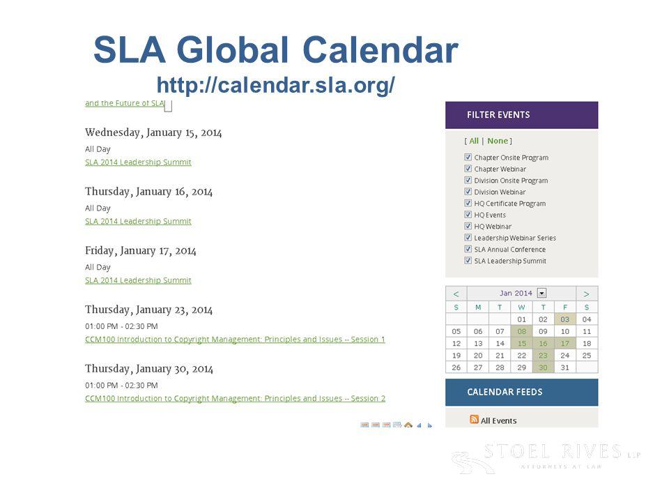 SLA Global Calendar http://calendar.sla.org/