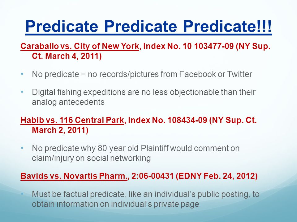 Predicate Predicate Predicate!!. Caraballo vs. City of New York, Index No.
