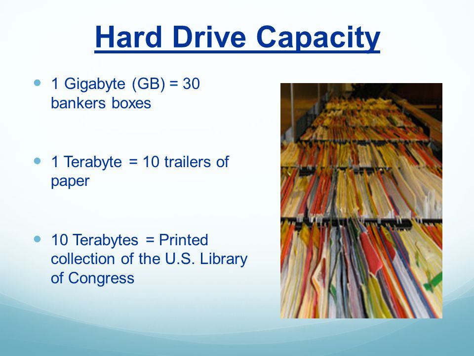 Hard Drive Capacity 1 Gigabyte (GB) = 30 bankers boxes 1 Terabyte = 10 trailers of paper 10 Terabytes = Printed collection of the U.S.