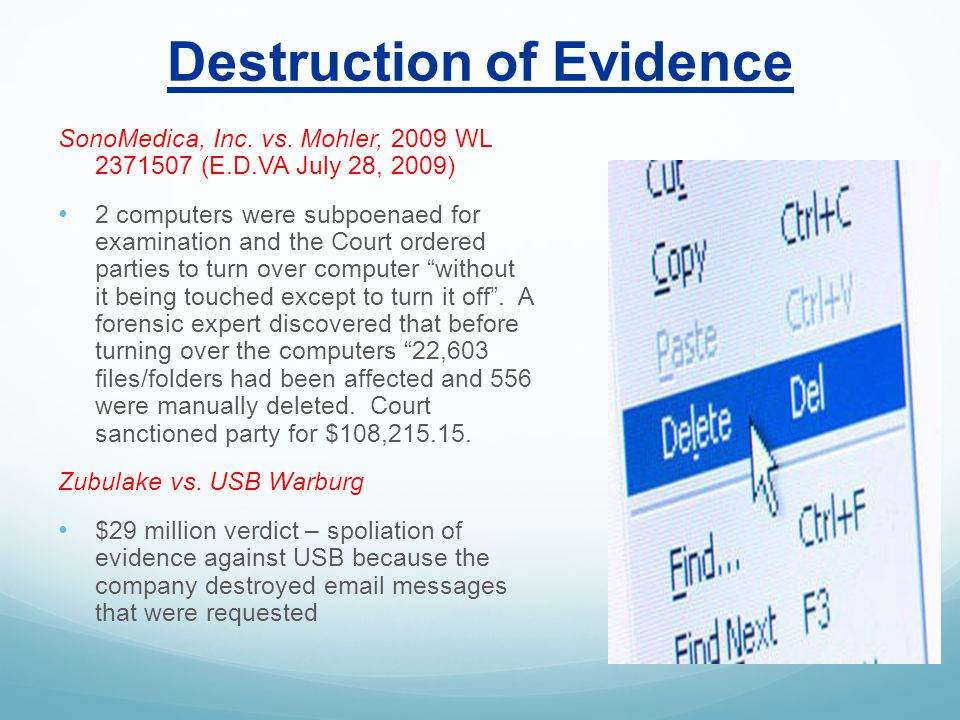 Destruction of Evidence SonoMedica, Inc. vs.