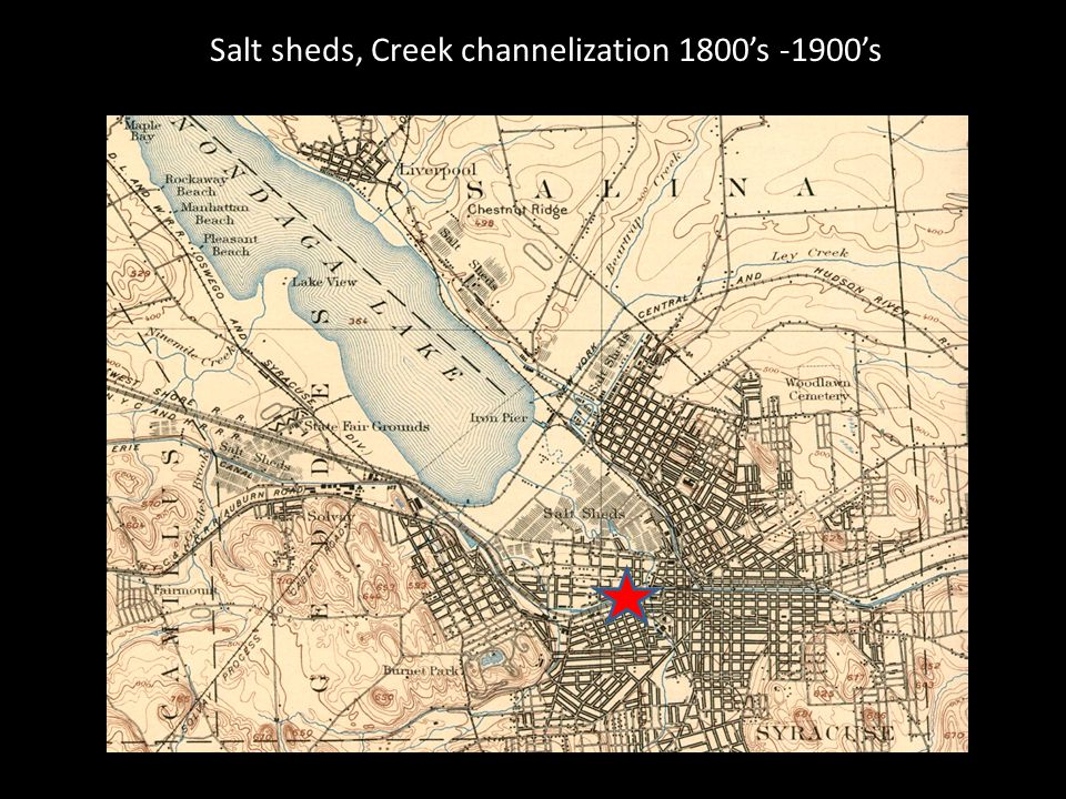 Salt sheds, Creek channelization 1800s -1900s