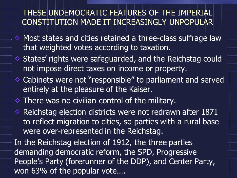 THESE UNDEMOCRATIC FEATURES OF THE IMPERIAL CONSTITUTION MADE IT INCREASINGLY UNPOPULAR Most states and cities retained a three-class suffrage law that weighted votes according to taxation.