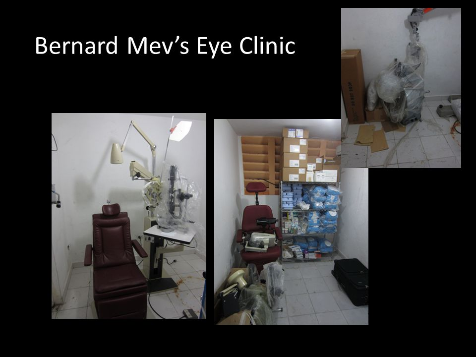 One or more operating rooms entirely devoted to eye care, An eye care clinic mainly aimed at the economically poor, but possibly with a part time prof