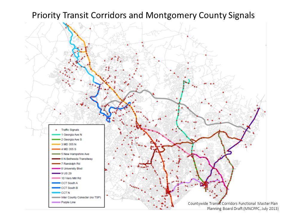 Priority Transit Corridors and Montgomery County Signals Countywide Transit Corridors Functional Master Plan Planning Board Draft (MNCPPC, July 2013)