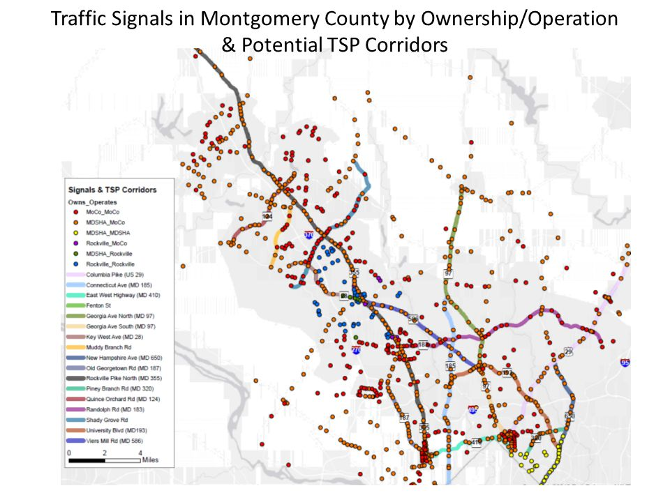 Traffic Signals in Montgomery County by Ownership/Operation & Potential TSP Corridors