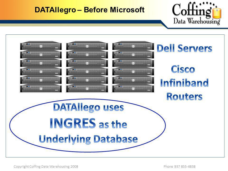 Copyright Coffing Data Warehousing 2008 Phone 937 855-4838 DATAllegro – Before Microsoft