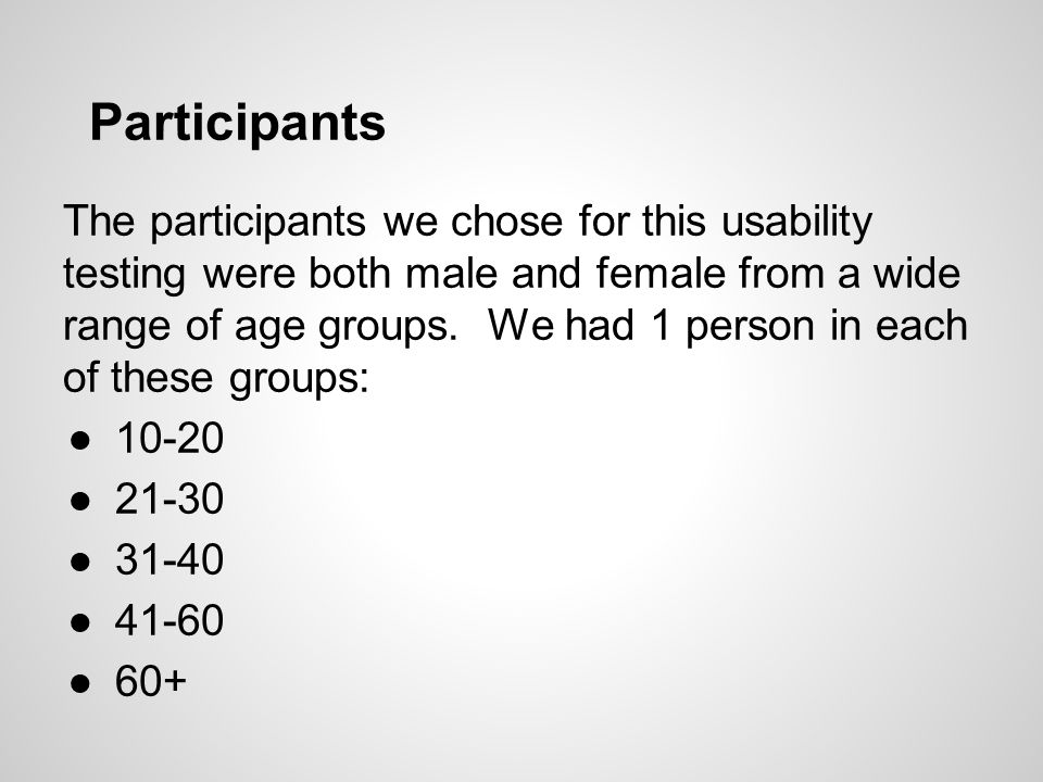 Participants The participants we chose for this usability testing were both male and female from a wide range of age groups.