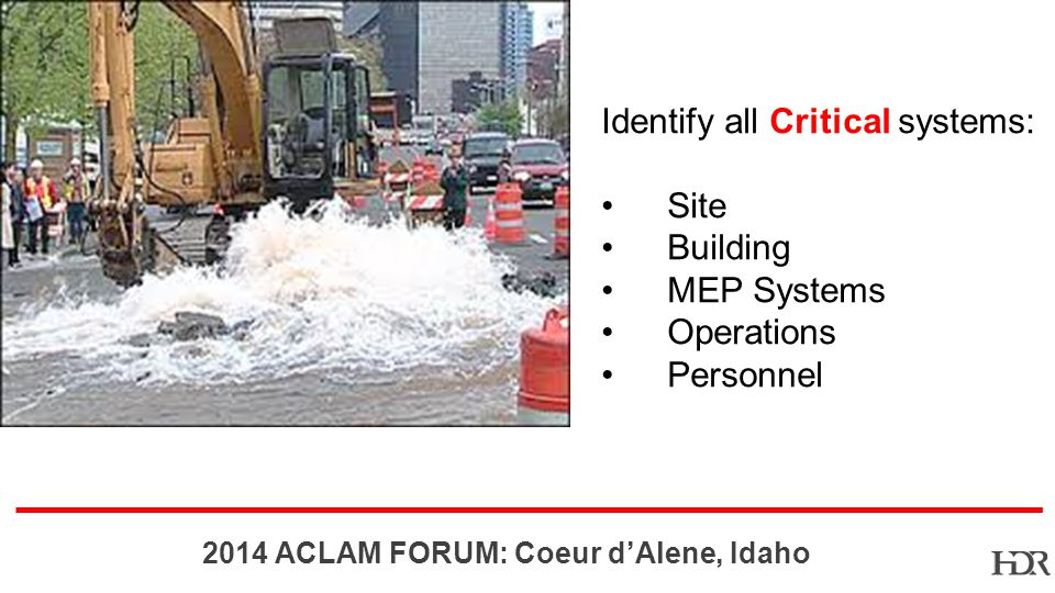 BR-10-1402 2014 ACLAM FORUM: Coeur dAlene, Idaho Identify all Critical systems: Site Building MEP Systems Operations Personnel