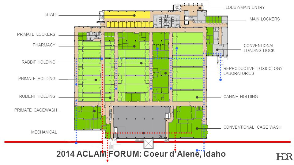 BR-10-1402 2014 ACLAM FORUM: Coeur dAlene, Idaho STAFF MECHANICAL PRIMATE HOLDING PRIMATE LOCKERS PRIMATE CAGEWASH RODENT HOLDING RABBIT HOLDING PHARMACY CANINE HOLDING CONVENTIONAL CAGE WASH REPRODUCTIVE TOXICOLOGY LABORATORIES CONVENTIONAL LOADING DOCK LOBBY/MAIN ENTRY MAIN LOCKERS