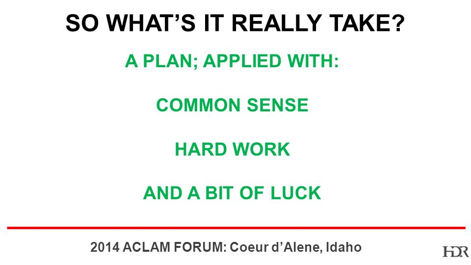BR-10-1402 2014 ACLAM FORUM: Coeur dAlene, Idaho SO WHATS IT REALLY TAKE.