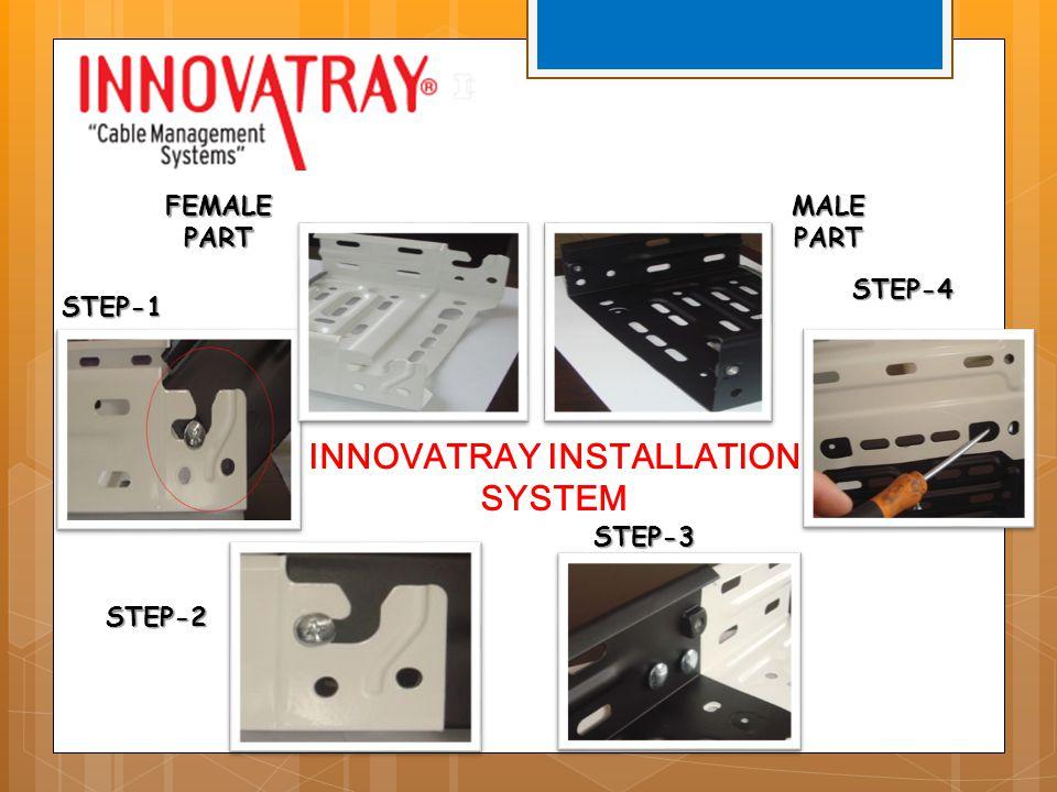 FEMALE PART MALE PART STEP-1 STEP-4 STEP-2 STEP-3 INNOVATRAY INSTALLATION SYSTEM