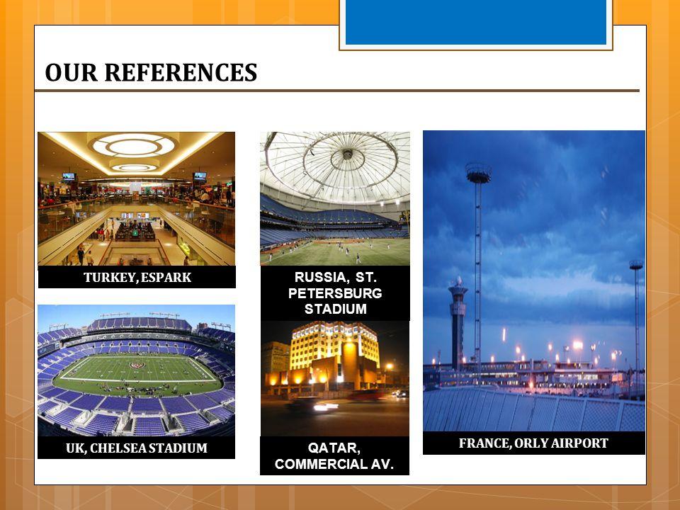 FRANCE, ORLY AIRPORT UK, CHELSEA STADIUM TURKEY, ESPARK RUSSIA, ST. PETERSBURG STADIUM QATAR, COMMERCIAL AV.