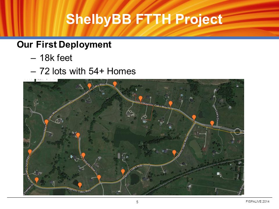 FISPALIVE 2014 5 ShelbyBB FTTH Project Our First Deployment –18k feet –72 lots with 54+ Homes