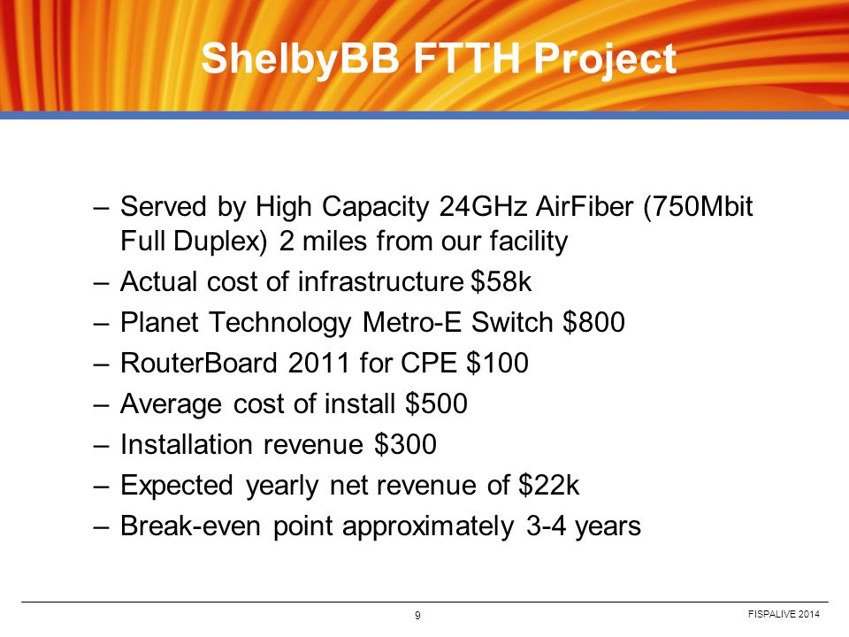 FISPALIVE 2014 9 ShelbyBB FTTH Project –Served by High Capacity 24GHz AirFiber (750Mbit Full Duplex) 2 miles from our facility –Actual cost of infrast