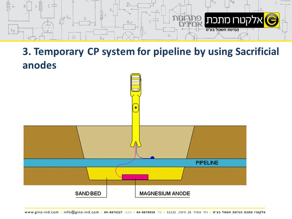 3. Temporary CP system for pipeline by using Sacrificial anodes