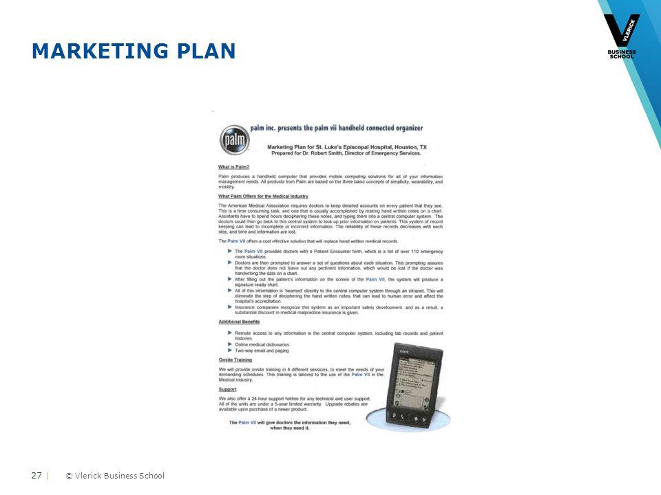© Vlerick Business School MARKETING PLAN 27 |