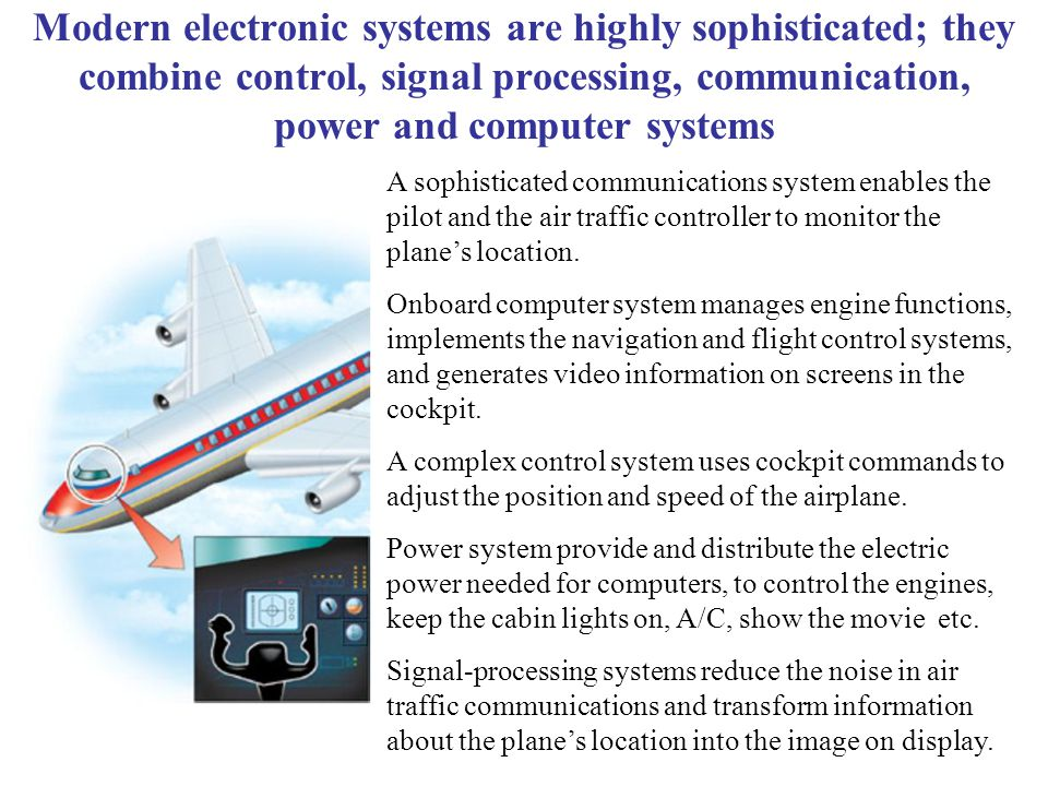 Modern electronic systems are highly sophisticated; they combine control, signal processing, communication, power and computer systems A sophisticated