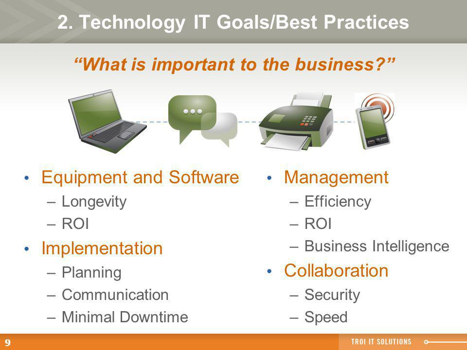 9 2. Technology IT Goals/Best Practices Equipment and Software –Longevity –ROI Implementation –Planning –Communication –Minimal Downtime Management –E