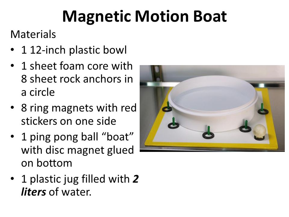 Magnetic Motion Boat Materials 1 12-inch plastic bowl 1 sheet foam core with 8 sheet rock anchors in a circle 8 ring magnets with red stickers on one side 1 ping pong ball boat with disc magnet glued on bottom 1 plastic jug filled with 2 liters of water.