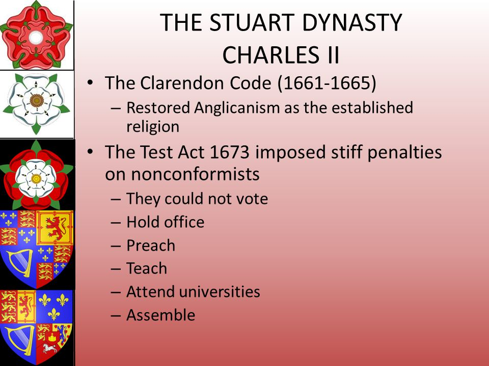 THE STUART DYNASTY CHARLES II The Clarendon Code (1661-1665) – Restored Anglicanism as the established religion The Test Act 1673 imposed stiff penalt