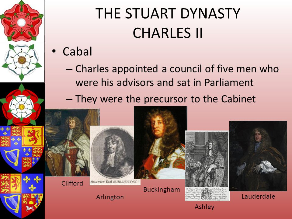 THE STUART DYNASTY CHARLES II Cabal – Charles appointed a council of five men who were his advisors and sat in Parliament – They were the precursor to