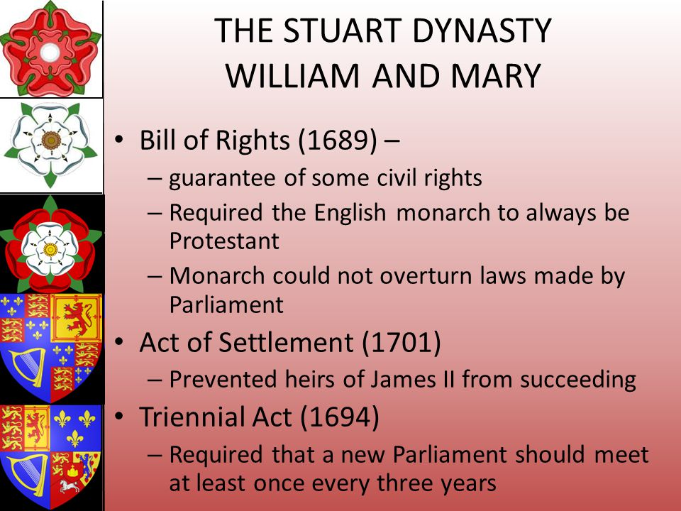 THE STUART DYNASTY WILLIAM AND MARY Bill of Rights (1689) – – guarantee of some civil rights – Required the English monarch to always be Protestant –