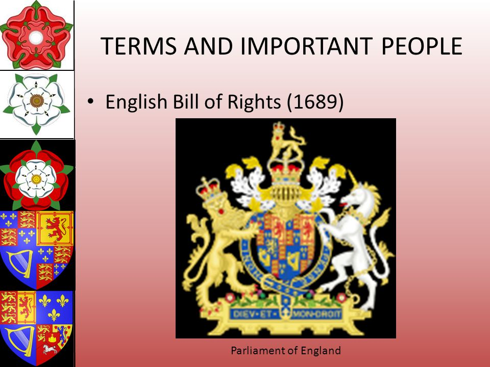 TERMS AND IMPORTANT PEOPLE English Bill of Rights (1689) Parliament of England