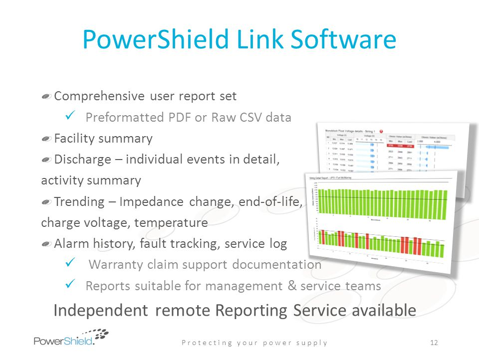 PowerShield Link Software Comprehensive user report set Preformatted PDF or Raw CSV data Facility summary Discharge – individual events in detail, act