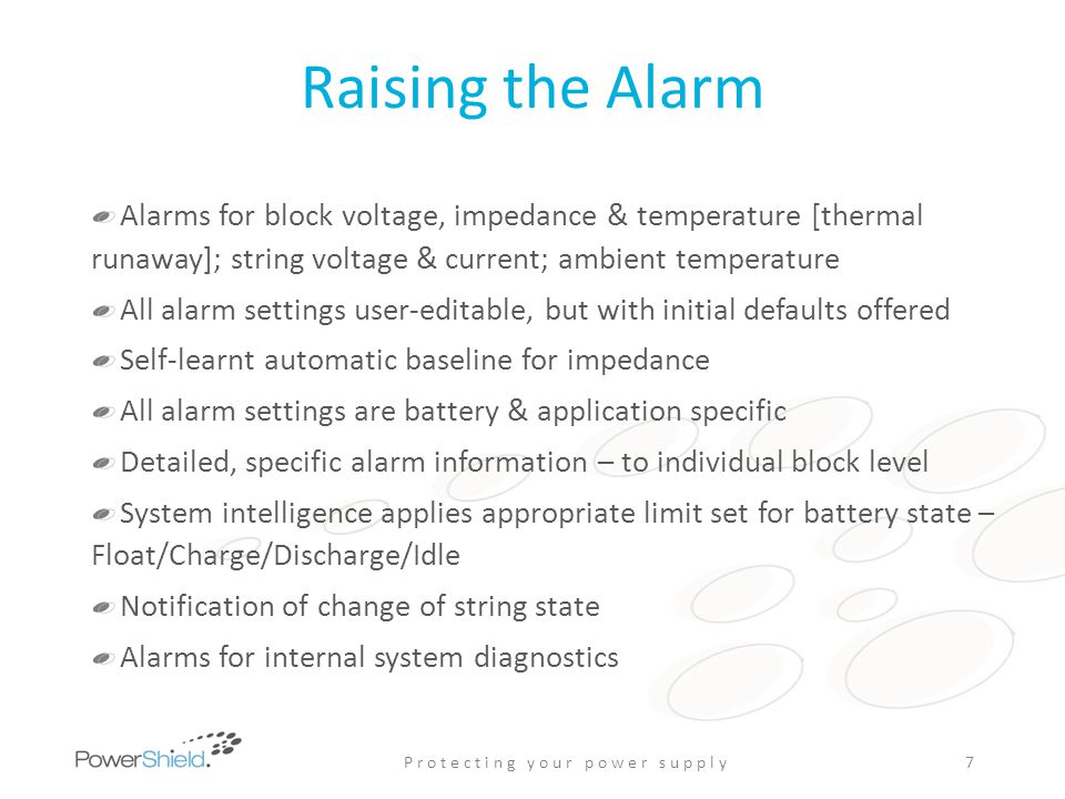 Raising the Alarm Alarms for block voltage, impedance & temperature [thermal runaway]; string voltage & current; ambient temperature All alarm setting