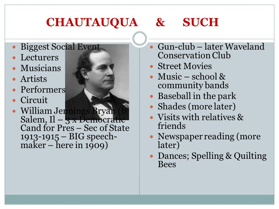 CHAUTAUQUA & SUCH Biggest Social Event Lecturers Musicians Artists Performers Circuit William Jennings Bryan (b Salem, Il – 3 x Democratic Cand for Pres – Sec of State 1913-1915 – BIG speech- maker – here in 1909) Gun-club – later Waveland Conservation Club Street Movies Music – school & community bands Baseball in the park Shades (more later) Visits with relatives & friends Newspaper reading (more later) Dances; Spelling & Quilting Bees