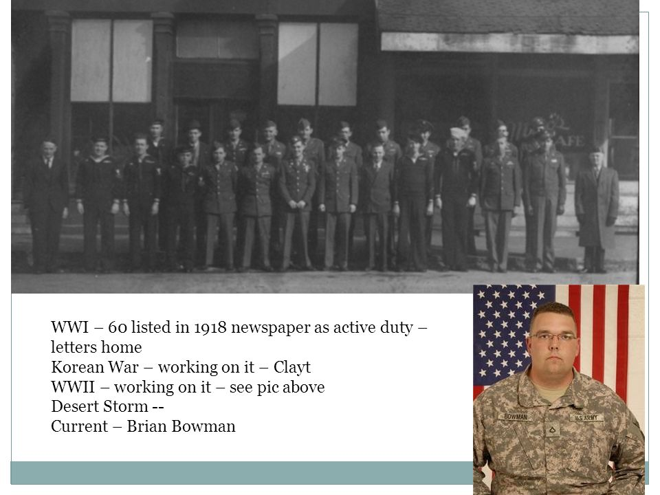 WWI – 60 listed in 1918 newspaper as active duty – letters home Korean War – working on it – Clayt WWII – working on it – see pic above Desert Storm -- Current – Brian Bowman