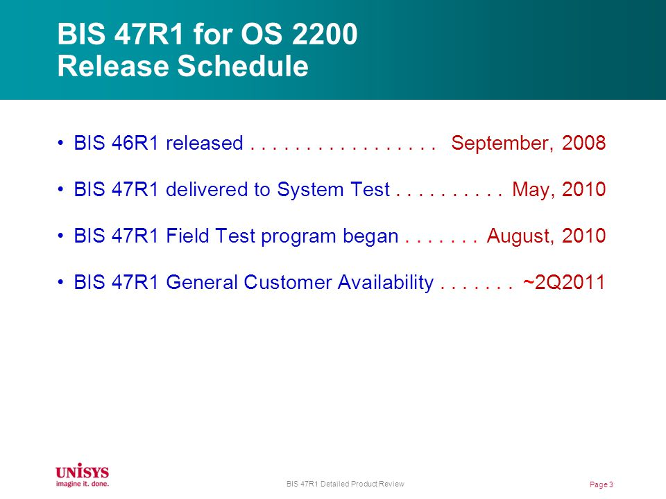 BIS 47R1 for OS 2200 Release Schedule BIS 46R1 released.................
